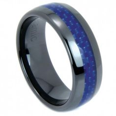Black ceramic ring with blue carbon fiber inlay which encircles the entire dome shaped band. $42.95