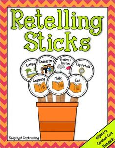 Retelling Sticks are a tool for students to help them retell stories, while identifying and describing story elements. The visual cues will aid students in providing key ideas and details as they retell and sequence stories. Library Lessons, Reading Lessons, Reading Resources, Reading Activities, Reading Skills, Literacy Activities, Guided Reading, Teaching Reading, Reading Strategies