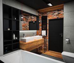 #modernbathroom #małałazienka cegła w łazience, drewno, beton, duże lustro w czarnej ramie
