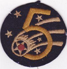 Original US Army WWII 5th Air Force Felt Patch WW2 USAAF. $34.99, via Etsy.