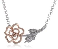 """XPY Sterling Silver and 14k Rose Gold Flower Necklace with Diamond Accents, 17"""""""