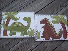 2 Dinosaur Paintings 11x14 Set by MelanieLupien on Etsy