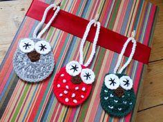 Christmas Owl Decorations - Instant Download PDF Crochet Pattern