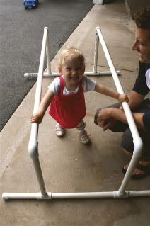 Similar design to make for Kourtnie. Parallel bars for babies Pediatric Physical Therapy, Pediatric Ot, Occupational Therapy, Motor Activities, Sensory Activities, Therapy Activities, Pvc Pipe Projects, Baby Sensory, Cerebral Palsy