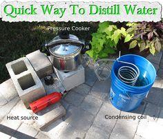 Water distillation…the quick way. Survival Food, Homestead Survival, Survival Skills, Survival Stuff, Survival Prepping, Emergency Preparedness, Salt And Water, Fresh Water, Water Water