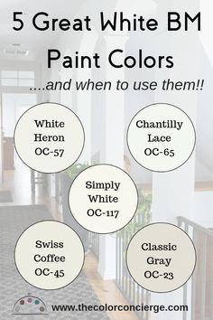 White Paint colors are the latest go-to trend. We put together a post on our favorite Benjamin Moore white paint colors (and when to use them) with their Sherwin Williams and Behr matches. Our favorites are White Heron, Chantilly Lace, Simply White, Swiss Ceiling Paint Colors, Neutral Paint Colors, Colored Ceiling, Best Paint Colors, Exterior Paint Colors, Bedroom Paint Colors, Paint Colors For Home, Gray Paint, White Ceiling Paint
