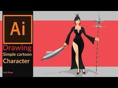 Drawing a simple 2D cartoon game character in adobe illustrator - Fast draw - YouTube