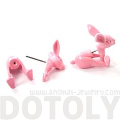 Unique Fake Gauge Detailed 3D Bunny Rabbit Animal Stud Earrings in Light Pink - $12.50 #bunnies #rabbits #animals #jewelry #earrings