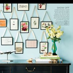 Framing and hanging postcards is such a good idea for inexpensive wall art.