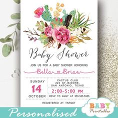 Elegant bohemian themed Floral Cactus baby shower invites to celebrate the new girl. These personalized cactus baby shower invitations feature a beautiful watercolor arrangement of cacti, twigs, feathers and flowers against a white backdrop with artsy calligraphy in gray and pink accents. #babyshowerideas #bohochic #cactus #babyshowerinvitations