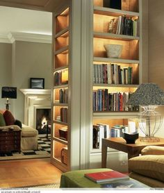 Trendy Home Library Lighting Home Library Design, Home Interior Design, House Design, Bookshelf Lighting, Library Lighting, Home Theaters, Bookshelf Design, Bookshelf Ideas, Home Libraries