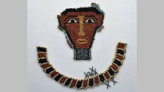Birmingham. | Beadwork mask from a mummy. Late Period. 1000-60 B.C. Birmingham Museum. Ancient Egyptian Jewelry, Egyptian Fashion, Birmingham Museum, Archaeology, Weaving, Objects, Beaded Necklace, Pearls, Beadwork