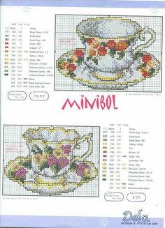 Cups and saucers Cross Stitch Borders, Cross Stitch Flowers, Cross Stitch Charts, Cross Stitch Designs, Cross Stitching, Cross Stitch Embroidery, Embroidery Patterns, Cross Stitch Patterns, Cross Stitch Kitchen