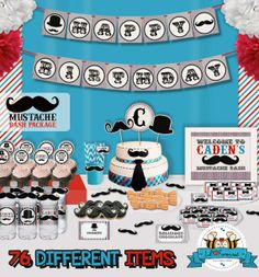 Little Man Mustache Bash Birthday Party Package