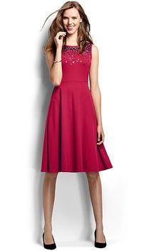 Women's Sleeveless Embroidered Drapey Ponte Dress