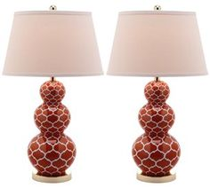 Moroccan Blood Orange Trellis Gourd Lamp SFV-