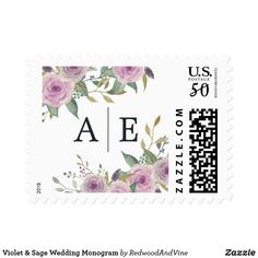 Violet & Sage Wedding Monogram Postage Elegant floral wedding postage stamps feature posies of watercolor flowers lilac and lavender purple with pale green botanical foliage, surrounding your two initial monogram or duogram. A perfect custom finishing touch for your wedding invitations, designed to coordinate with our Violet & Sage collection.