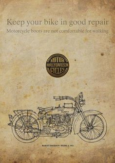 HARLEY DAVIDSON Model J 1921 Poster Quote Keep your by drawspots, $38.00