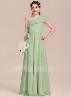 [€ 44.75] A-Line/Princess One-Shoulder Floor-Length Chiffon Junior Bridesmaid Dress With Cascading Ruffles (009130651)