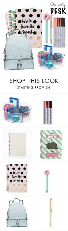 """On My Desk"" by serenafoy ❤ liked on Polyvore featuring interior, interiors, interior design, home, home decor, interior decorating, Pusheen, Boohoo, Michael Kors and Kate Spade"
