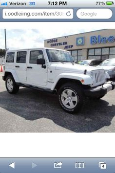 All white four door jeep wrangler... Someday it shall be mine!