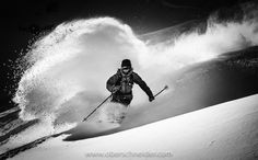 """Black and White Powder Skiing - Image available for licensing. See more of my work here: <a href=""""http://www.oberschneider.com"""">www.oberschneider.com</a> Facebook: <a href=""""http://www.facebook.com/Christoph.Oberschneider.Photography"""">Christoph Oberschneider Photography</a> follow me on <a href=""""http://instagram.com/coberschneider"""">Instagram</a>"""