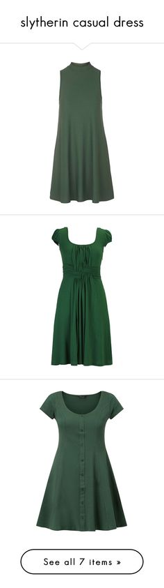 """""""slytherin casual dress"""" by rebellious-ingenue ❤ liked on Polyvore featuring dresses, green, tops, topshop, green dress, eshakti dress, cotton knit dresses, eshakti, dark green and button front dress"""