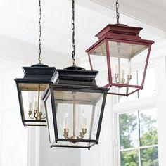 Ballard Piedmont 4-Light Lantern  $249 in antique bronze, brick red or verdigris patina