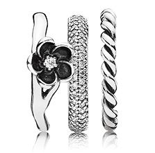 Twisted love for a black flower #PANDORAring stack for a rock chic