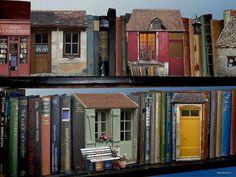 — Village de livres book art by Marie Montard Miniature Rooms, Miniature Houses, Book Crafts, Arts And Crafts, Art Crafts, Book Art, Book Sculpture, Paper Sculptures, Fairy Doors