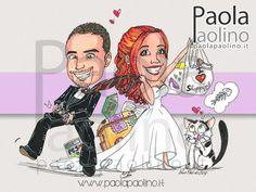 Caricatura #sposi per le #nozze! Divertente scena che riprende la passione della sposa per lo #shopping e la mania dei videogiochi dello #sposo! Un modo originale e divertente per sorprendere al ricevimento di nozze. #caricature #caricaturista