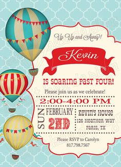 Hot Air Balloon Birthday Invitation por SweetBeeDesignShoppe