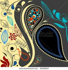 Paisley background with space for text. Vector file also available in my gallery - stock photo