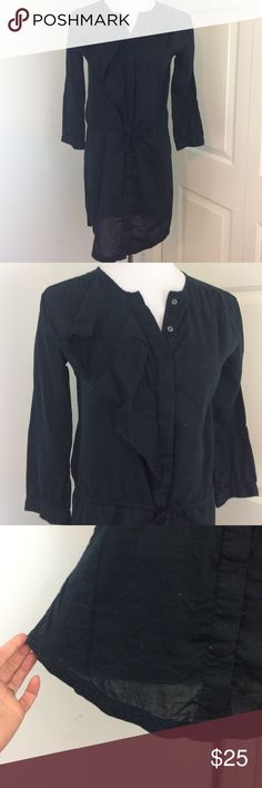 Gap Black Cotton Ruffle Dress In excellent condition! I always wore a slip of tights underneath since the bottom is slightly see through. 3/4 length sleeve, ties at the waist and buttons down the front. Does need to be ironed! GAP Dresses Long Sleeve