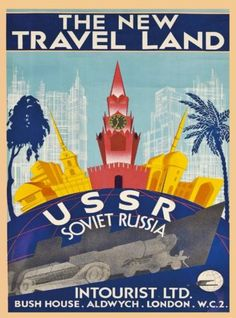 New-Travel-Land-USSR-Russia-Vintage-Russian-Travel-Advertisement-Poster-Print