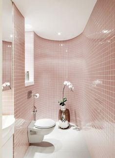Badezimmer Fliesen pastell rosa glas hochglanz