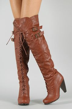 Sashi-1A Lace Up Thigh High Boot $44.20
