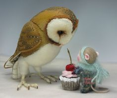 "Needle Felted 4"" Gordy & his wee Bird in Seed Pod Sled By Barby Anderson / Owl by Helen Priem"