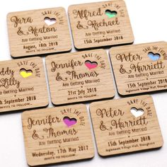 Wooden Save The Date Magnet Wood Wedding Save The Dates Magnets Coloured Hearts…