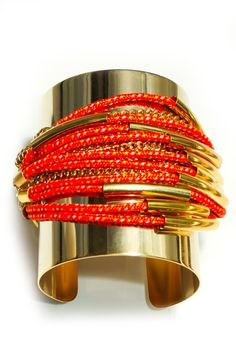 Charm & Chain | Orange Devil's Tower Cuff - Assad Mounser - A-Z Designers - Designers