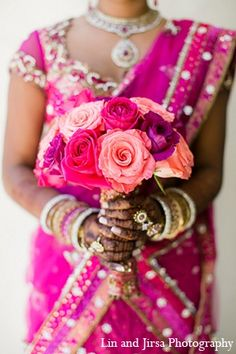 indian wedding pink sari bouquet http://maharaniweddings.com/gallery/photo/12838