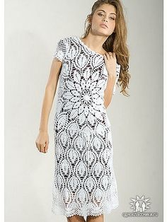 Crochet white dress ♥LCW-MRS♥ with diagrams. Uhmm add more yarn, make it long and it will be perfect fir a wedding dress.