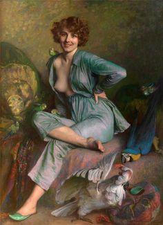 A flirty figurative portrait entitled: The Birds painted in 1921 by French artist: Émile Friant. I am thrown off by the facial expression at odds in the scene, but the artist wants us to see the funny side through a play on words with the feminine colloquial use of 'bird', and the obvious attraction that is anything other than the budgie that sits on her shoulder, or the parrot attacking the orange crested white cockatoo.