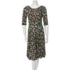 Pre-owned Erdem Dress ($155) ❤ liked on Polyvore featuring dresses, green, mid calf dresses, 3/4 sleeve dress, green print dress, 3/4 length sleeve dresses and calf length dresses