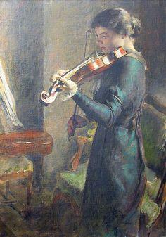 ♪ The Musical Arts ♪ music musician paintings - François Guiguet | La Violoniste, 1914