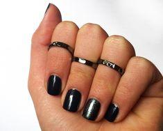 Black Knuckle Rings - Black Pinky Rings