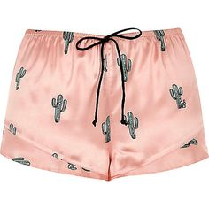 Pink cactus print pajama shorts