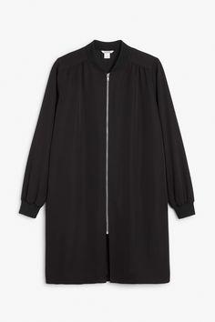 Monki Image 1 of Long lightweight jacket in Deep black
