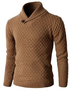 H2H Men's Knit Pullover Long Sleeve Hexagon Patterned Sweater at Amazon Men's Clothing store: Sweater Men Shawl Collar