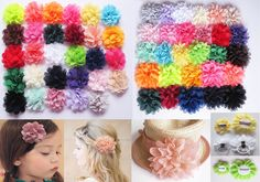 Girls Chiffon Fabric Flower Hair Clips Grips Slides Ponytail Hair Bobbles Pin
